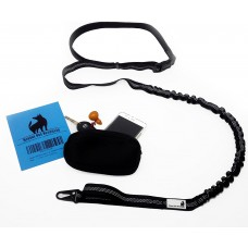"Hands Free Dog Leash With Zipper Pouch Bag for Running Walking Durable Dual-Handle Bungee Stretch Leash, 4-Foot Long Reflective Adjustable Waist Belt (Fits up to 42"" waist) by Diezel Pet Products"