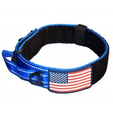 "BLUE DOG COLLAR WITH CONTROL HANDLE MILITARY STYLE METAL QUICK RELEASE TACTICAL BUCKLE HEAVY DUTY 2"" WIDTH NYLON WITH USA FLAG GREAT FOR HANDLING AND TRAINING LARGE CANINE MALE OR FEMALE K9"